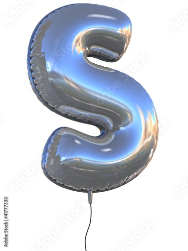 letter S balloon 3d illustration