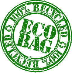 eco bag 100 percent recycled rubber stamp, vector illustration