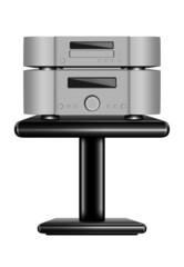 Hi-Fi CD player on rack. Realistic eps10 vector illustration
