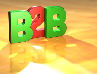Word B2B on yellow background