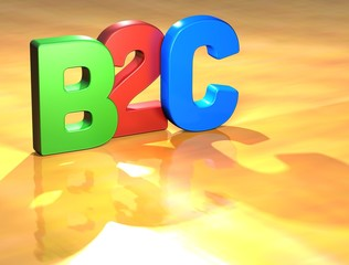 Word B2C on yellow background