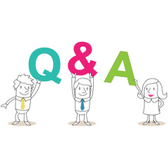 Geschäftsleute, Buchstaben, Q&A