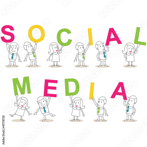 Geschäftsleute, Buchstaben, SOCIAL MEDIA