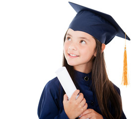 Pensive female graduate