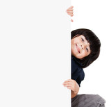 Boy holding banner