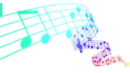 Colored Music notes in 3d. HD. Loopable.