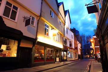 Evening street in York, UK