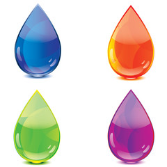 Blue orange green purple drops icon set