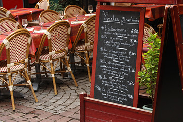 Street view of a coffee terrace in Strasbourg, Alsace, France
