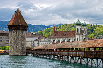 Panoramic view of Chapel Bridge. Lucerne Switzerland