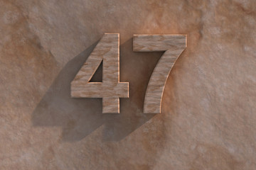 47 in numerals in mottled sandstone