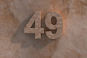 The number 49 carved from marble on marble base