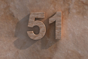 The number 51 carved from marble on marble base