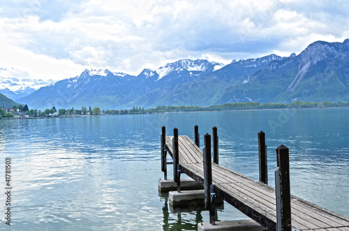 Wooden Dock in Geneva lake, Switzerland