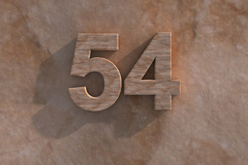 The number 54 carved from marble on marble base