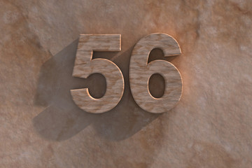 The number 56 carved from marble on marble base