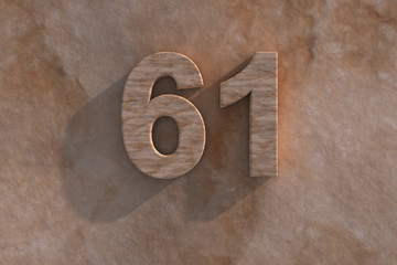 The number 61 carved from marble on marble base