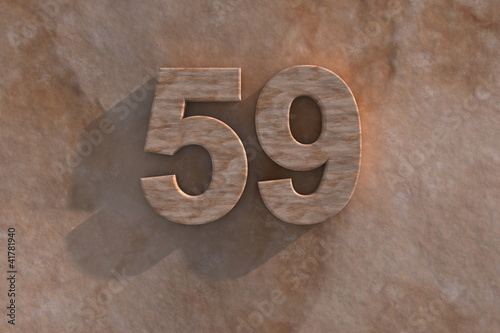 The number 59 carved from marble on marble base