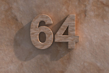 64 in numerals in mottled sandstone