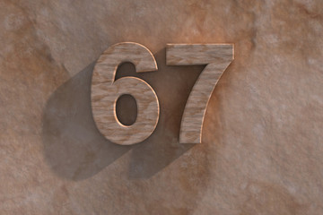 67 in numerals in mottled sandstone