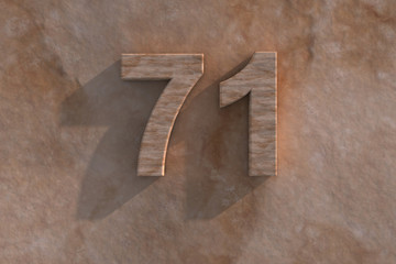 71 in numerals in mottled sandstone
