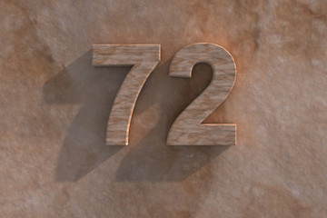 72 in numerals in mottled sandstone