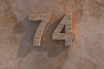 74 in numerals in mottled sandstone
