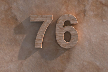76 in numerals in mottled sandstone