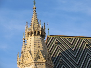 Spire and roof of Cathedral in Vienna