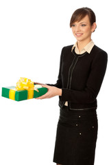 green box with yellow bow as a gift