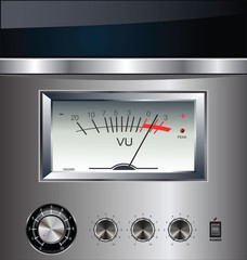 VU Meter on silver background