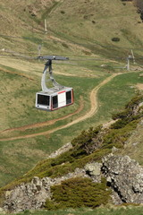 cable car at plomb du cantal - massif central