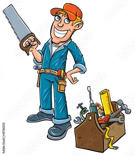Cartoon handyman with toolbox.