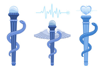 Rod of Asclepius and Caduceus - medical symbol