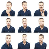young man face expressions composite isolated on white backgroun