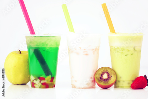 Kiwi Slush Apple Tea Boba Drink