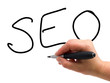 Handwritten text SEO - search engine optimization