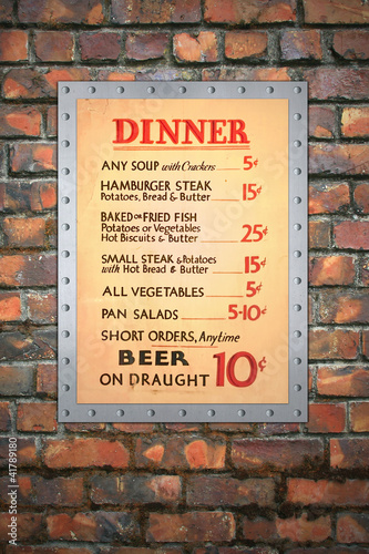 Vintage Cafe Menu on Brick Wall