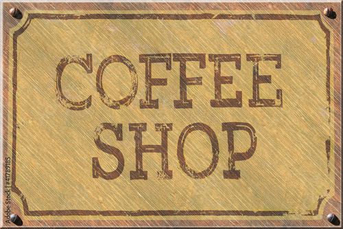 Aged Wood Coffee Shop Sign