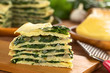 A piece of savory crepes layered with chard (mangold)