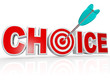 Choice Arrow in Target Bulls-Eye Word Best Option