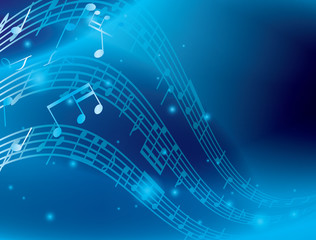 blue abstract background with music notes - vector