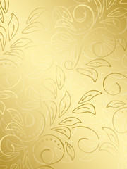 gold floral background with gradient - vector