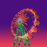 ferris wheel in evening view isolated on night view