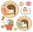 new baby items set on white background
