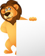 Funny Lion Cartoon With Blank Sign