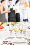 Champagne toast glasses for meeting participants