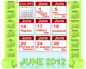 Holiday icons calendars for june 2012.