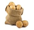 Potatoes in burlap sack