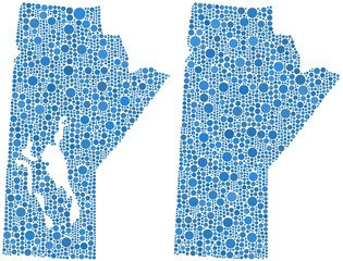 Map of Manitoba - Canada - in a mosaic of blue circles